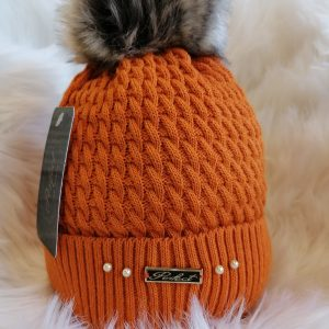 Perfect Orange Pom Pom Hat With Beads