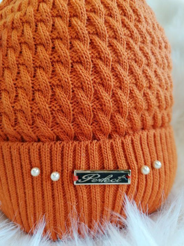 Perfect Orange Pom Pom Hat With Beads