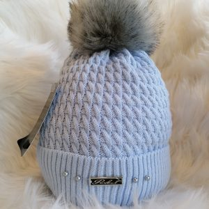 Perfect Pale Blue Pom Pom Hat With Beads