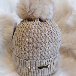 Perfect Beige Pom Pom Hat With Beads