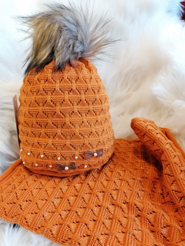 Perfect Hats Snood Set in Orange