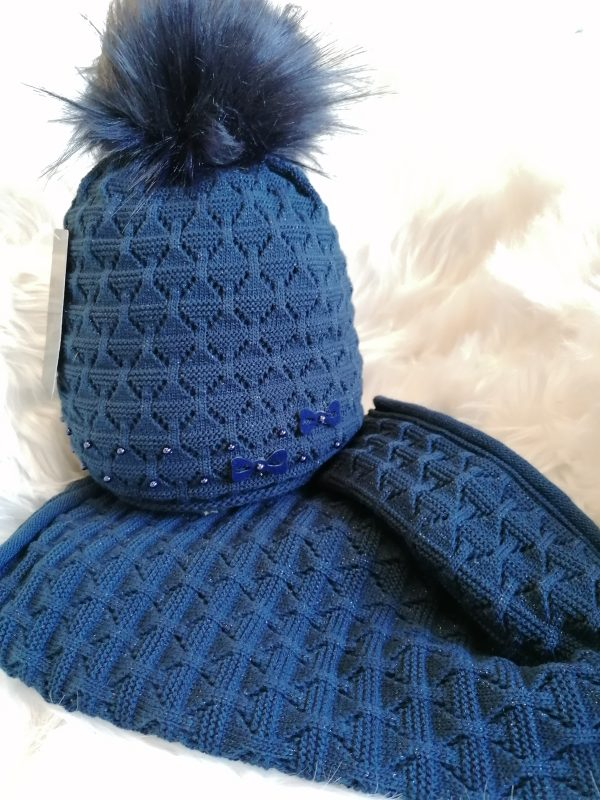Perfect Glitter Hats Snood Set in Navy