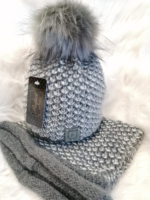 Perfect Hats Soft Knit in Grey/Black Snood Set