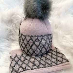 Perfect Hats Pink/Black Snood Set