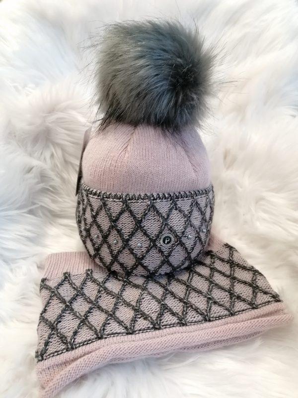 Perfect Hats Pink/Black Snood Set