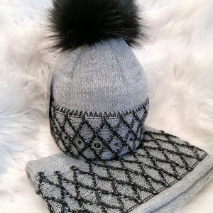 Perfect Hats Grey/Black Snood Set