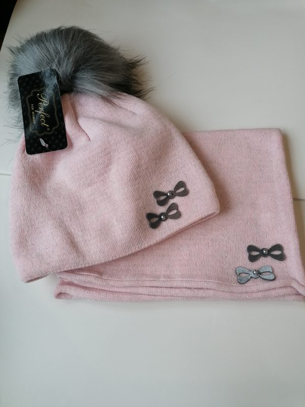 Perfect Hat Natalia Snood Set Baby Pink