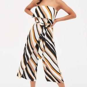 Lavish Alice Double Layer Bandeau Stripe Culotte Jumpsuit