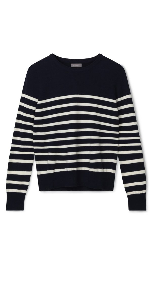 Chalk Clothing Jane Stripe Jumper in Navy Ecru