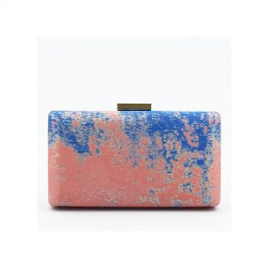 Olga Berg Jacquard two-tone clutch in orange