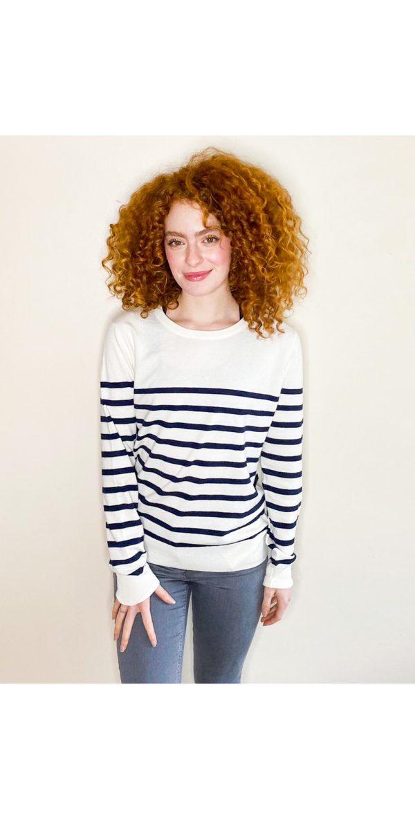 Chalk Clothing Jane Stripe Jumper in Ecru Navy
