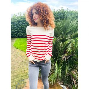 Chalk Clothing Jane Stripe Jumper in Red Ecru