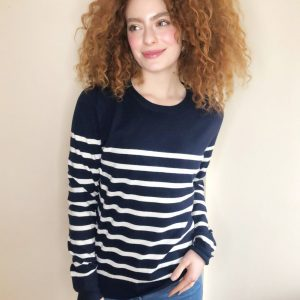 Chalk Clothing Jane Stripe Jumper in Navy Ecru
