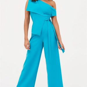 Lavish Alice One Shoulder Tie Front Jumpsuit in Turquoise