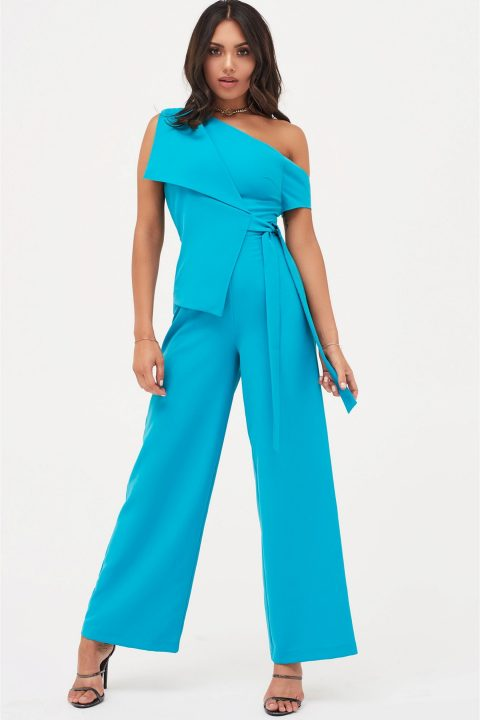 Lavish Alice One Shoulder Tie Front Jumpsuit in Turquoise