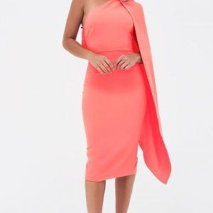 Lavish Alice one shoulder cape midi dress in neon coral