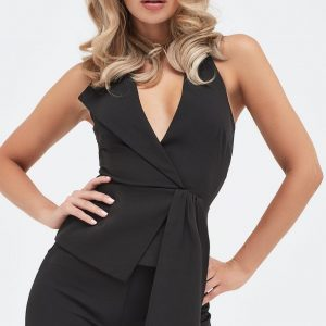 Lavish Alice halterneck fold over lapel top in black