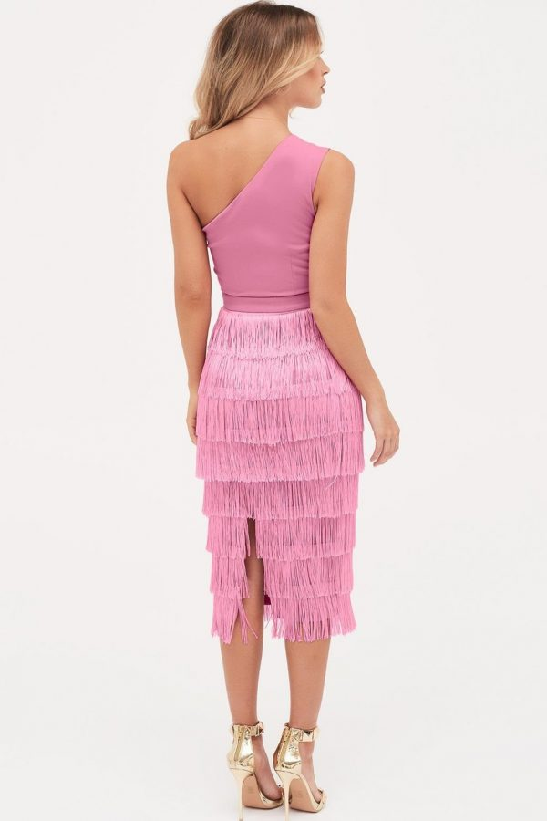 Lavish Alice One Shoulder Fringe dress in pink