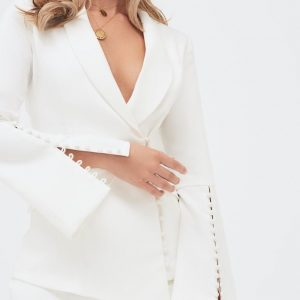 Lavish Alice bell sleeve fitted blazer with button detail in white