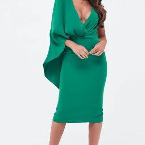 Lavish Alice One Shoulder Caped Midi Dress in Emerard Green