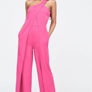 Lavish Alice One Shoulder wrap over wide leg jumpsuit in pink