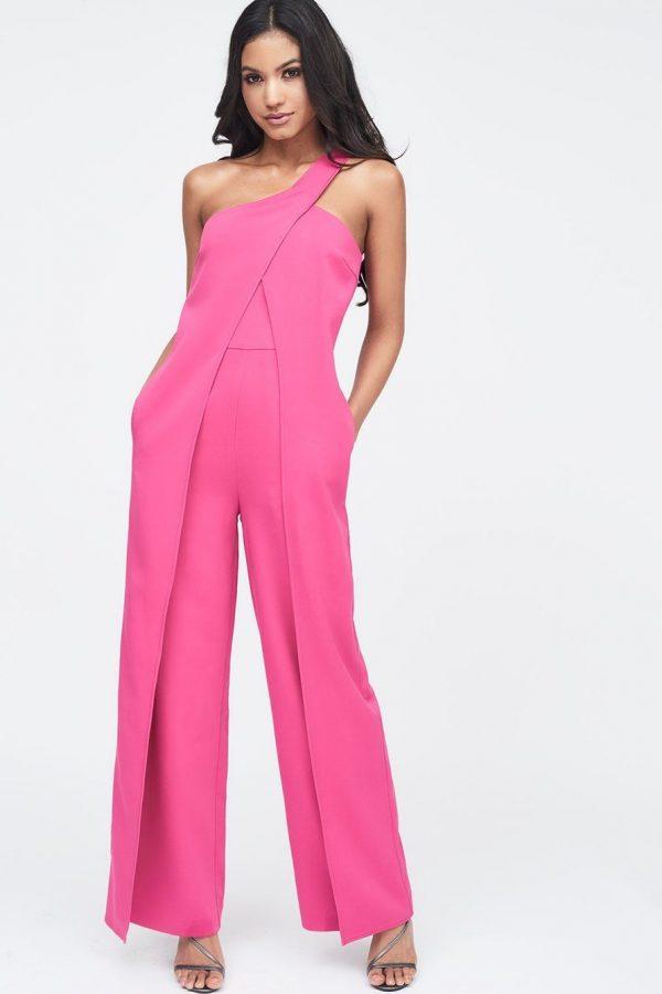 Lavish Alice One Shoulder wrap over wide leg jumpsuit in pink
