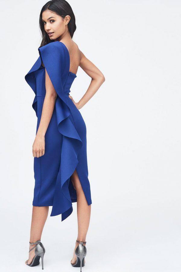 Lavish Alice Exaggerated frill one shoulder scuba midi dress in blue