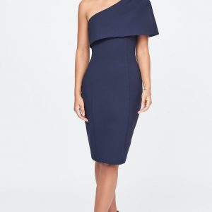 Lavish Alice One Shoulder cape midi dress in navy