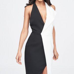 Lavish Alice contrast oversized collar halter midi dress in black and white