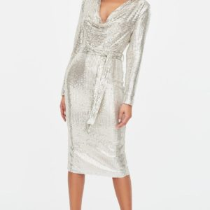 Lavish Alice Stretch Sequin Cowl Neck Dress in Silver
