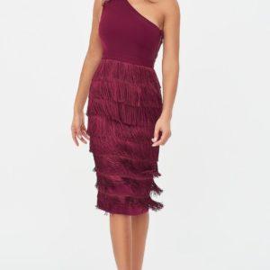 Lavish Alice One Shoulder Fringe Midi Dress in Burgundy