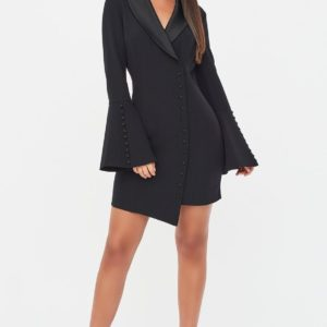 Lavish Alice Button Detail Blazer Mini Dress in Black