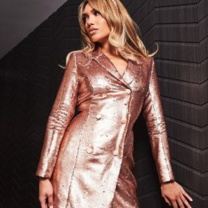 Lavish Alice Blazer Dress in Gold Sequin