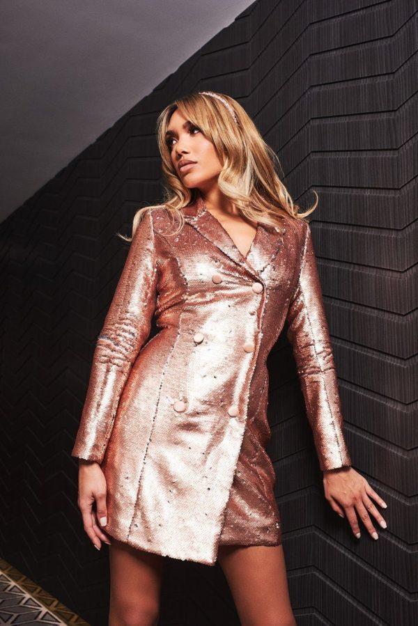 Lavish Alice Blazer Dress in Gold Sequin