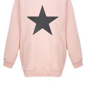 Chalk Nancy Star Oversized Sweatshirt - Dusky Pink/Dark Grey
