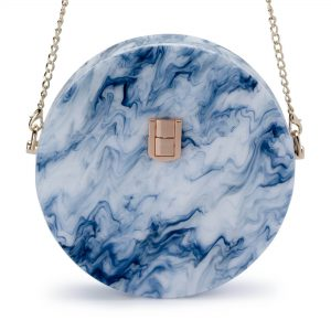 Olga Berg Kandy round acrylic blue shoulder bag