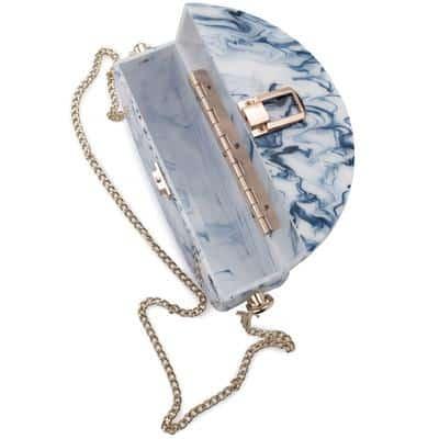 Olga Berg Kandy round acrylic blue shoulder bag