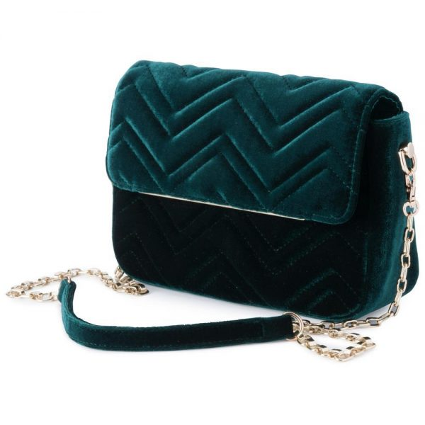 Olga Berg Emerald Hope Velvet Shoulder bag