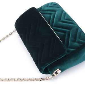 Olga Berg Emerald Hope Velvet shoulder Bag 2