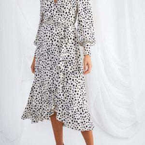 Louella Midi Wrap Cream Spot Dress