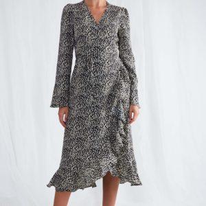 Valery Black Abstract Wrap Dress