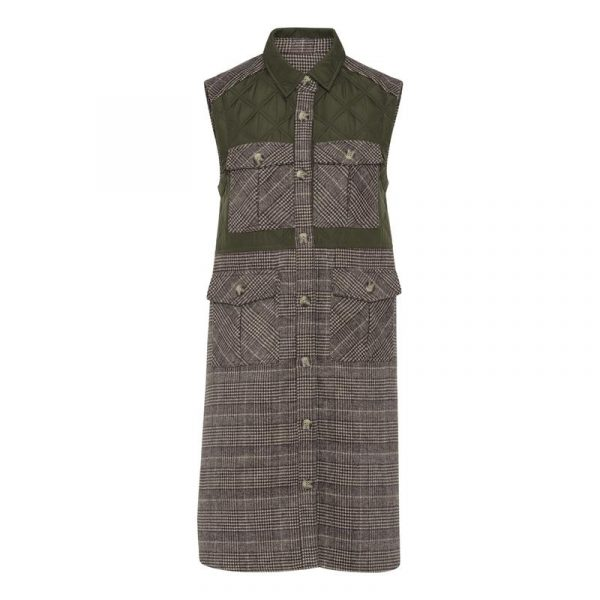 A-View Peggy Vest in Checkered brown