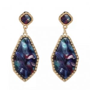 Resin hex blue drop earrings betty and biddy