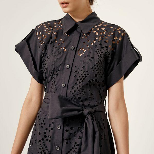Access Fashion Black Laser Cut Design Shirt Dress