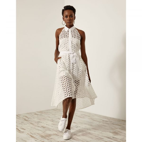 Access Fashion Perforated White Open Back Dress