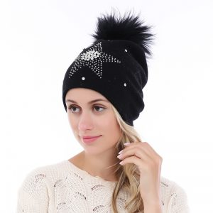 Peach Accessories black big star hat