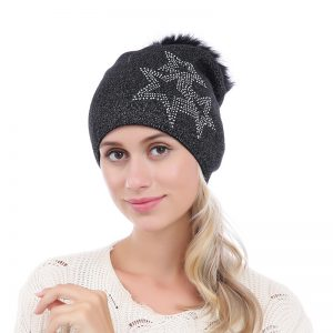 Peach Accessories black shimmer star hat