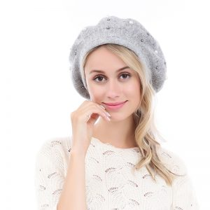 Peach Accessories silver pearl beret
