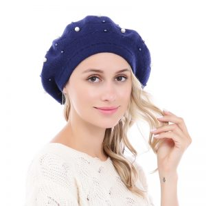 Peach Accessories navy pearl beret