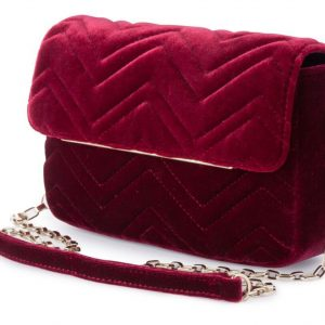 Olga berg hope velvet shoulder bag burgandy